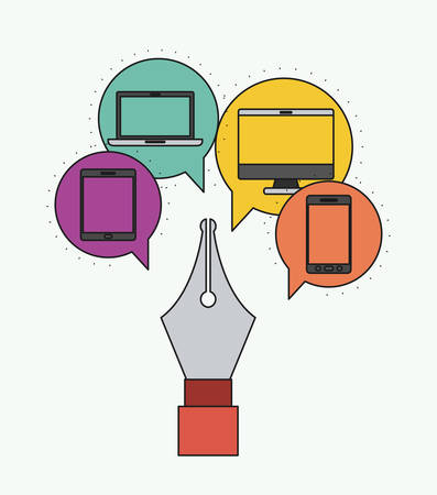 electronic devices: Network electronic devices communication vector illustration design