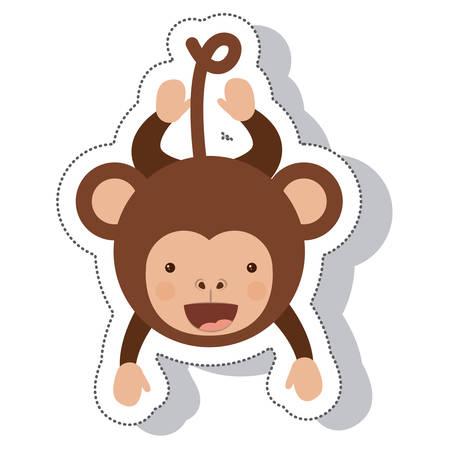 funny monkey isolated icon vector illustration design