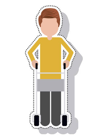 hiker: hiker disable person isolated icon vector illustration design