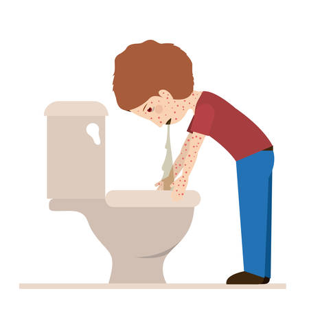 vomiting: person sick with vomiting vector illustration design