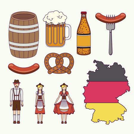 german culture: set icons culture germany vector illustration design