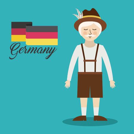 bavarian culture: man germany culture avatar vector illustration design