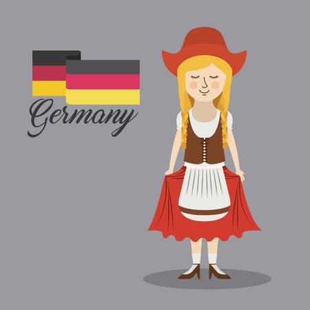 bavarian culture: woman germany culture avatar vector illustration design