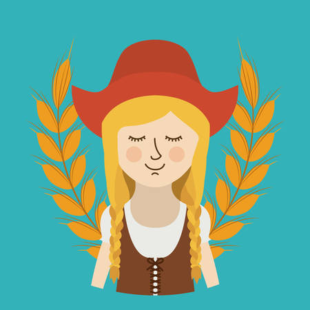 woman germany culture avatar vector illustration design