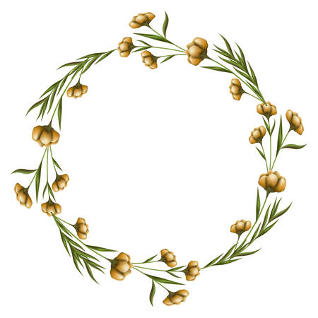 wreath floral decoration circle isolated icon vector illustration design