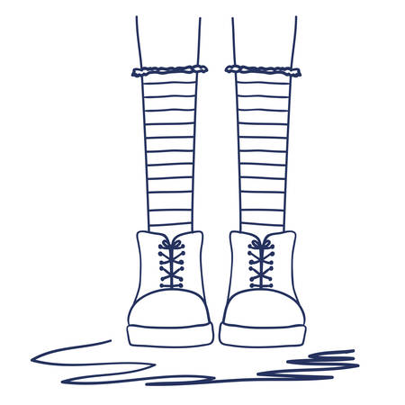 foots: foots young girl socks vector illustration design Illustration