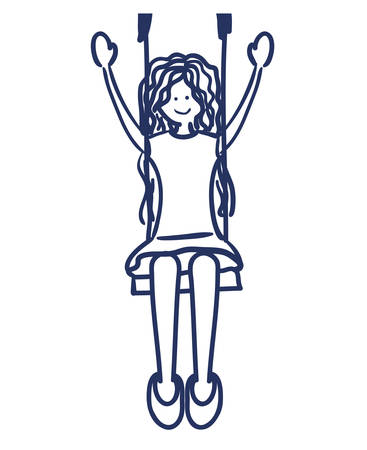 swinging: girl swinging drawing isolated icon vector illustration design