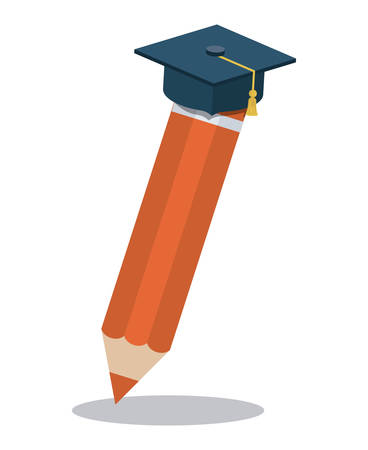pencil with graduation hat isolated icon vector illustration design Illustration