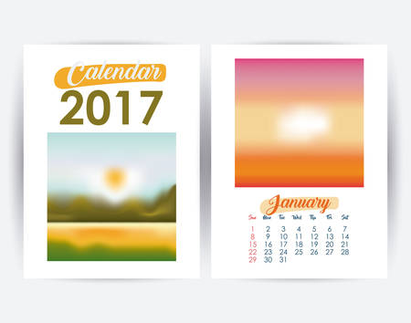 day planner: 2017 january year frame landscape picture photo calendar planner month day icon. Colorful and Flat design. Vector illustration
