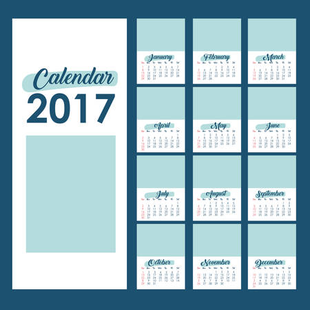 day planner: 2017 year calendar planner month day frame icon. Colorful and Flat design. Vector illustration