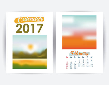 day planner: 2017 february year frame landscape picture photo calendar planner month day icon. Colorful and Flat design. Vector illustration