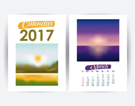 day planner: 2017 march year frame landscape picture photo calendar planner month day icon. Colorful and Flat design. Vector illustration Illustration