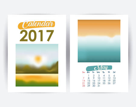 day planner: 2017 may year frame landscape picture photo calendar planner month day icon. Colorful and Flat design. Vector illustration