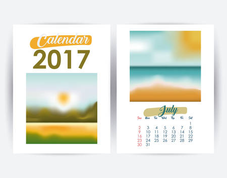 day planner: 2017 july year frame landscape picture photo calendar planner month day icon. Colorful and Flat design. Vector illustration Illustration