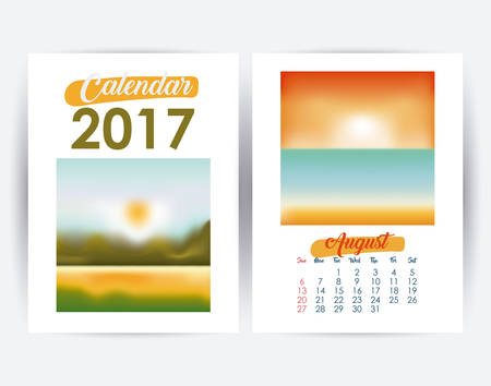 day planner: 2017 august year frame landscape picture photo calendar planner month day icon. Colorful and Flat design. Vector illustration Illustration