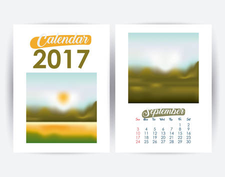 day planner: 2017 september year frame landscape picture photo calendar planner month day icon. Colorful and Flat design. Vector illustration Illustration