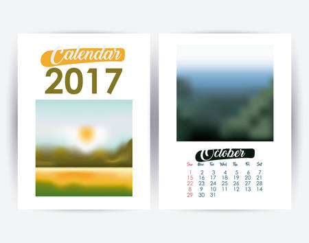 day planner: 2017 october year frame landscape picture photo calendar planner month day icon. Colorful and Flat design. Vector illustration