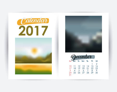 day planner: 2017 december year frame landscape picture photo calendar planner month day icon. Colorful and Flat design. Vector illustration