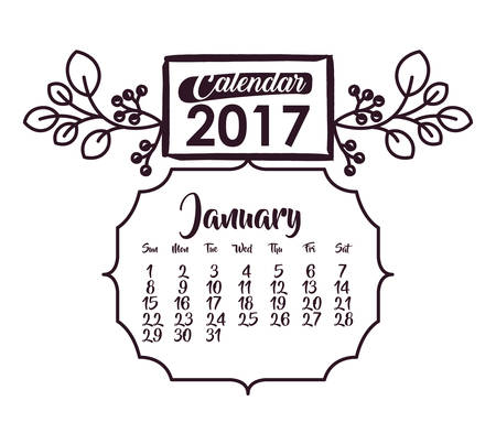 day planner: 2017 year january ornament frame calendar planner month day icon. Colorful and Flat design. Vector illustration Illustration