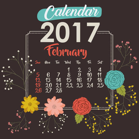 day planner: 2017 february year calendar flowers floral garden planner month day icon. Colorful and Flat design. Vector illustration Illustration