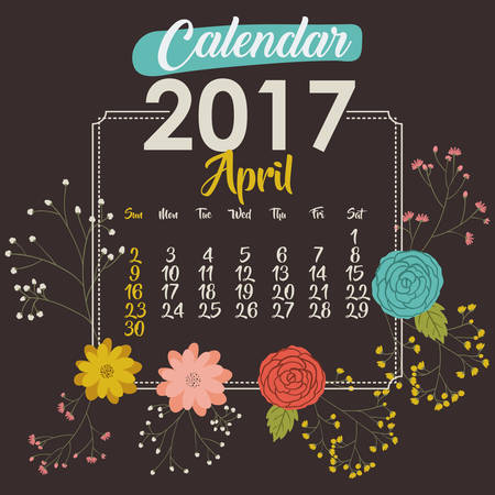 day planner: 2017 april year calendar flowers floral garden planner month day icon. Colorful and Flat design. Vector illustration