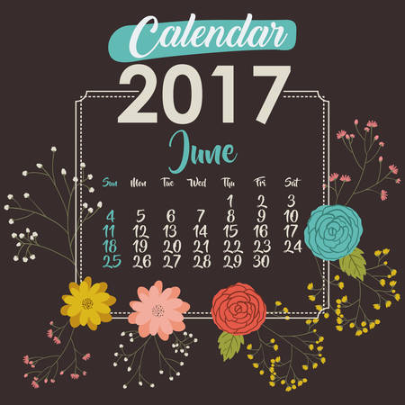 day planner: 2017 june year calendar flowers floral garden planner month day icon. Colorful and Flat design. Vector illustration