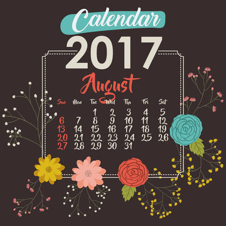day planner: 2017 august year calendar flowers floral garden planner month day icon. Colorful and Flat design. Vector illustration Illustration