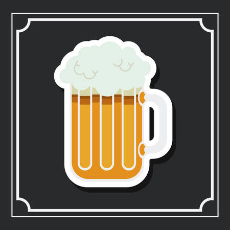 brewed: glass beer drink beverage traditional icon. Colorful and Flat design. Vector illustration