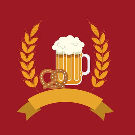 brewed: glass pretzel beer drink beverage traditional icon. Colorful and Flat design. Vector illustration
