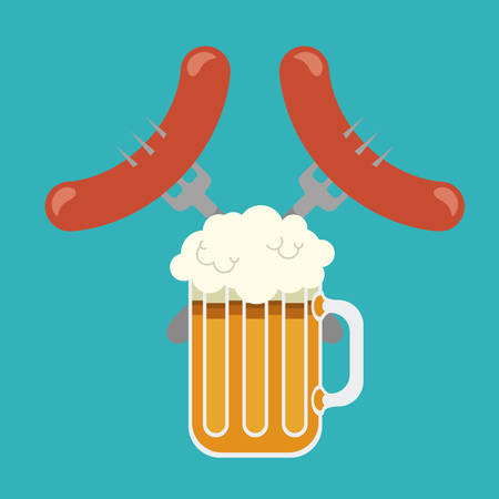 glass beer sausage drink beverage traditional icon. Colorful and Flat design. Vector illustration