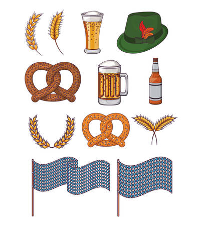 bottle glass beer pretzel hat traditional icon. Colorful and Flat design. Vector illustration
