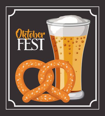pretzel: beer pretzel frame food meu oktoberfest icon. Colorful and Flat design. Vector illustration