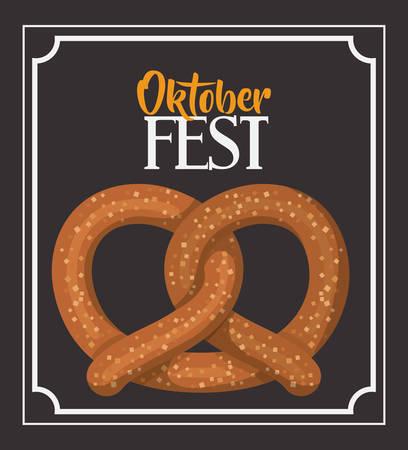 oktoberfest food: pretzel frame food meu oktoberfest icon. Colorful and Flat design. Vector illustration