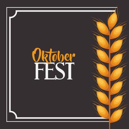 oktoberfest food: wheat ear frame food meu oktoberfest icon. Colorful and Flat design. Vector illustration Illustration