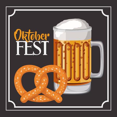oktoberfest food: beer pretzel frame food meu oktoberfest icon. Colorful and Flat design. Vector illustration