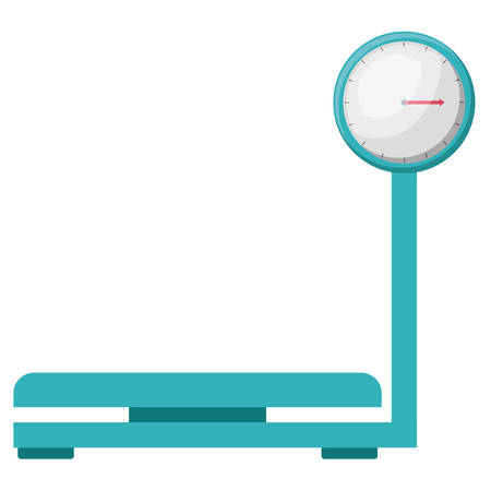 weigh machine: weight scale instrument metal blue icon. Isolated and Flat design. Vector illustration Illustration