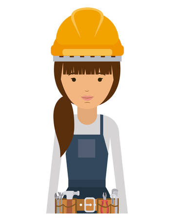laborer: constructer woman and cartoon icon. profession worker and occupation theme. Isolated design. Vector illustration