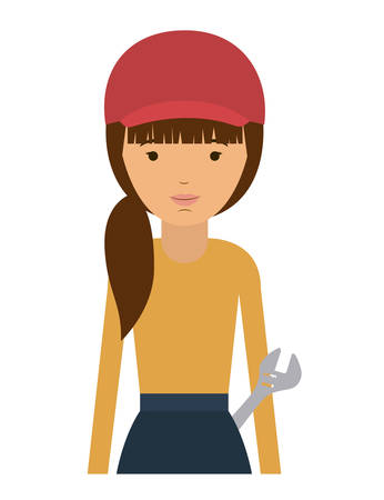 labourers: repair woman and cartoon icon. profession worker and occupation theme. Isolated design. Vector illustration