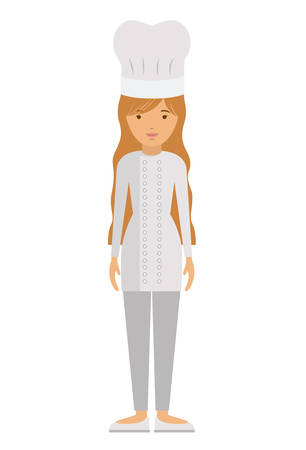 labourer: chef woman and cartoon icon. profession worker and occupation theme. Isolated design. Vector illustration