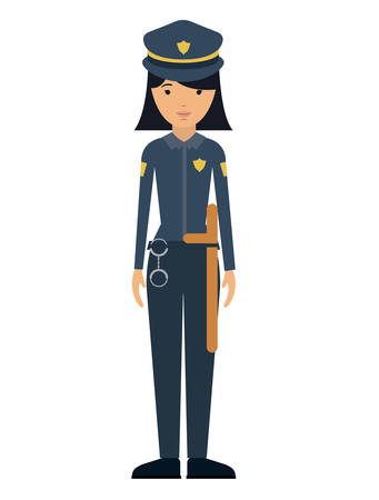 labourers: police woman and cartoon icon. profession worker and occupation theme. Isolated design. Vector illustration