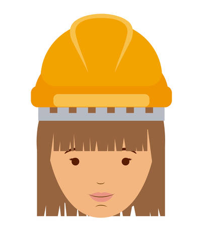 labourers: constructer woman and cartoon icon. profession worker and occupation theme. Isolated design. Vector illustration