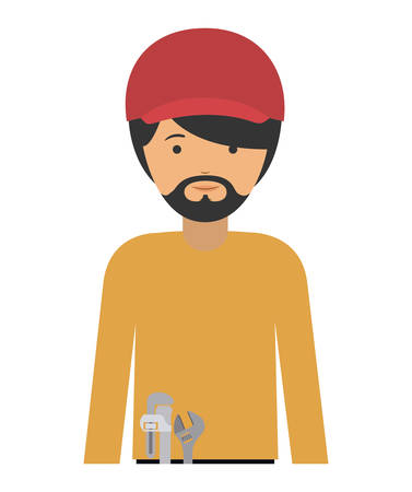 labourer: repair man and cartoon icon. profession worker and occupation theme. Isolated design. Vector illustration