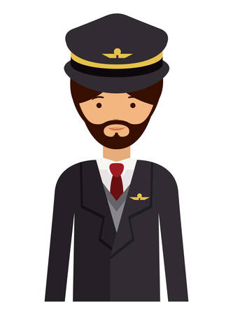 labourer: pilot man and cartoon icon. profession worker and occupation theme. Isolated design. Vector illustration