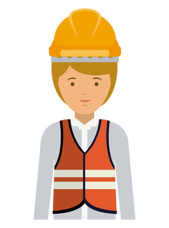 laborer: constructer man and cartoon icon. profession worker and occupation theme. Isolated design. Vector illustration Illustration