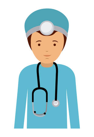labourers: doctor man and cartoon icon. profession worker and occupation theme. Isolated design. Vector illustration Illustration