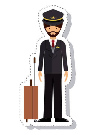 labourers: pilot man and cartoon icon. profession worker and occupation theme. Isolated design. Vector illustration
