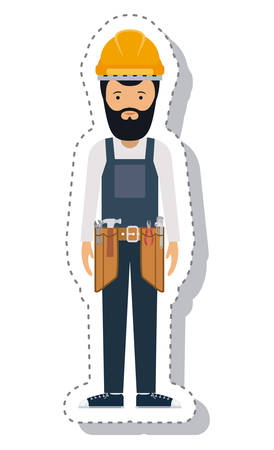 labourers: constructer man and cartoon with helmet icon. profession worker and occupation theme. Isolated design. Vector illustration