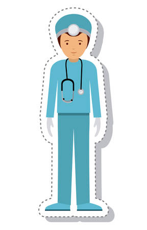 laborer: doctor man and cartoon icon. profession worker and occupation theme. Isolated design. Vector illustration Illustration