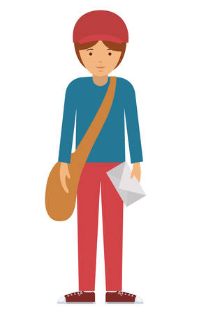 labourer: delivery man and cartoon with envelope icon. profession worker and occupation theme. Isolated design. Vector illustration