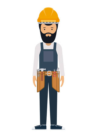 labourer: constructer man and cartoon with helmet icon. profession worker and occupation theme. Isolated design. Vector illustration